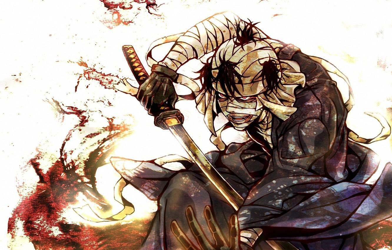 Фото обои кровь, катана, лезвие, бинты, раненный, безумец, Rurouni Kenshin, Бродяга Кенсин, самурай икс, Shishio