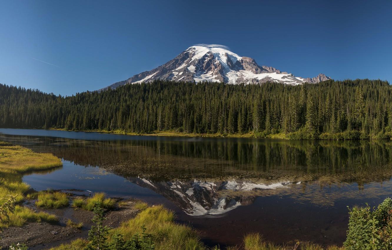 Фото обои hdr, панорама, сша, Oregon, panorama, multi monitors, горное озеро, Mount Hood, ultra hd