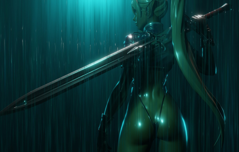 Фото обои попа, дождь, спина, меч, фэнтези, профиль, эльфийка, уши, ливень, оружИе