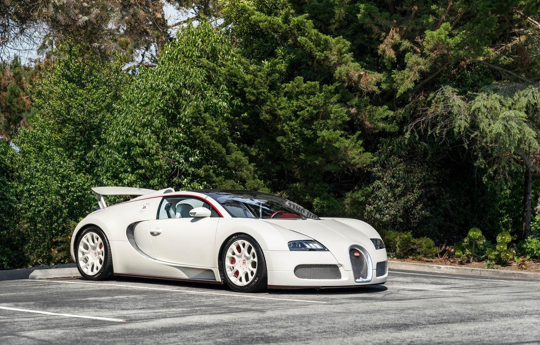 Фото обои Bugatti, veyron, white, parking