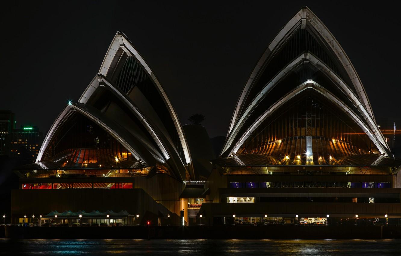 Обои Здание оперного театра в сиднее, ночь. Города foto 8