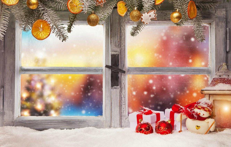 Фото обои зима, снег, украшения, Новый Год, окно, Рождество, подарки, Christmas, winter, snow, window, Merry Christmas, Xmas, …