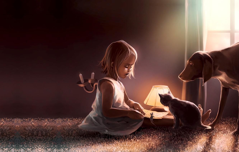 Фото обои кошка, игра, сказка, собака, вечер, мышка, арт, книга, друзья, детская, Coexistence, Cyril Rolando