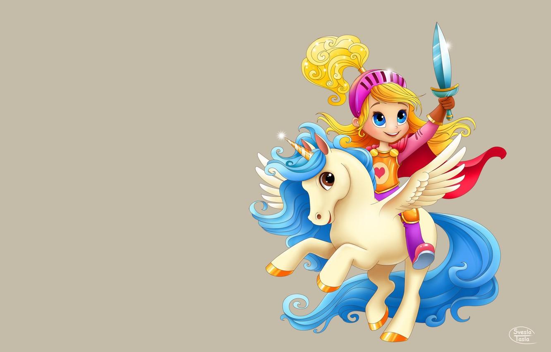 Фото обои игра, арт, единорог, пегас, детская, лошадка, SveslaTasla