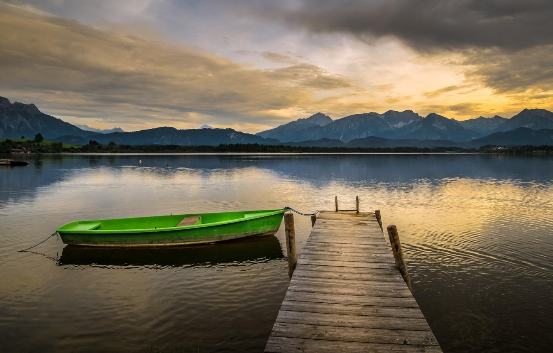 Фото обои озеро, лодка, причал, Germany, Bavaria, Bebele