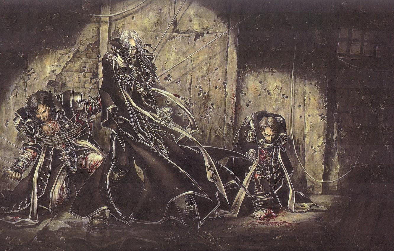 Фото обои trinity blood, art, военная форма, подвал, западня, пленники, Abel Nightroad, кровь триединства, следы от пуль, …