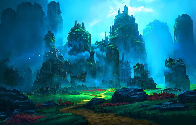 Фото обои птицы, камни, скалы, дорожка, Emerald Ruins