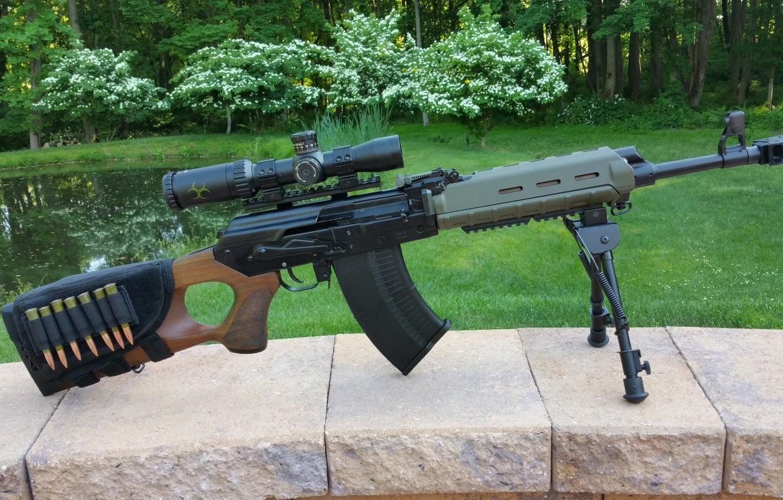 Фото обои оружие, автомат, weapon, кастом, custom, Калашников, АКМ, AKM, штурмовая винтовка, assault Rifle, Вепрь, Vepr