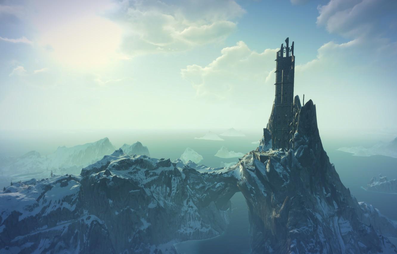 Фото обои море, снег, замок, руины, the witcher 3