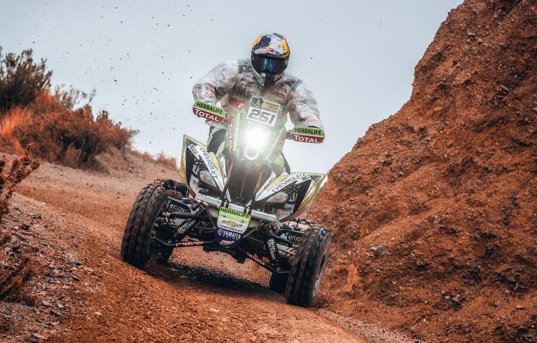 Фото обои Фара, Скорость, Гонка, Квадроцикл, Гонщик, Мото, Yamaha, Rally, Dakar, Дакар, Ралли, 251