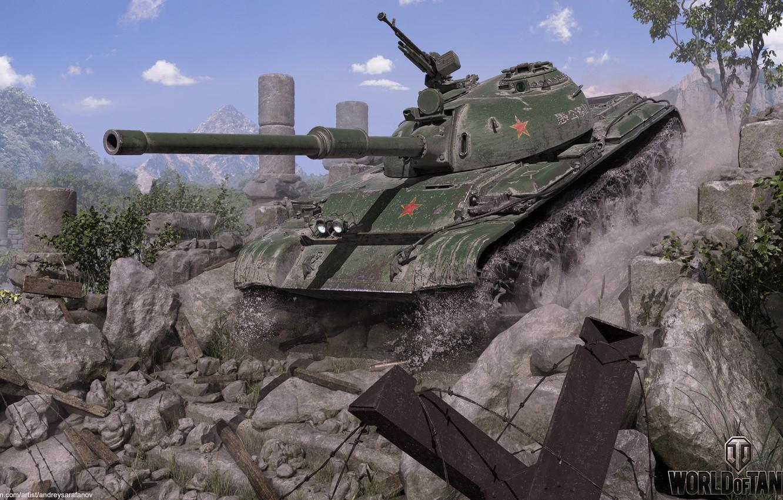 Фото обои звезда, танк, руины, World of Tanks, 121 Chinese medium tank