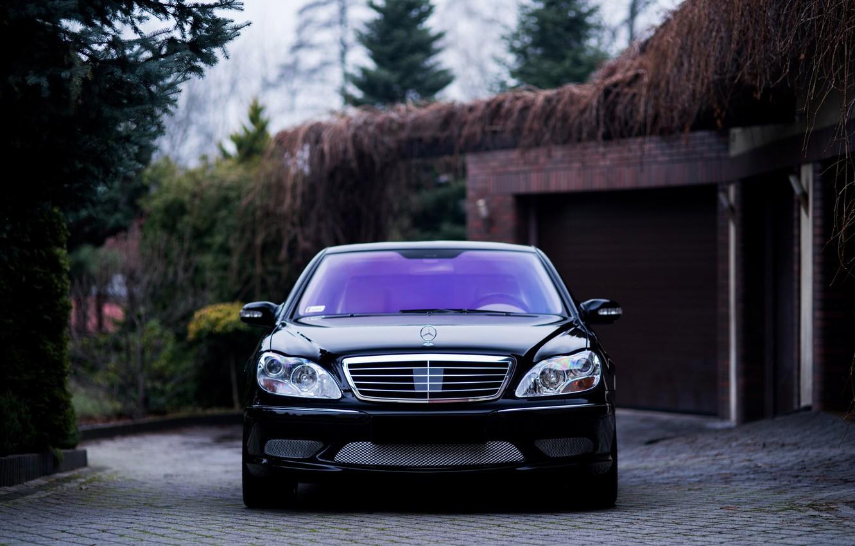 Фото обои Mercedes, Classic, Front, Black, Legend, S500, W220