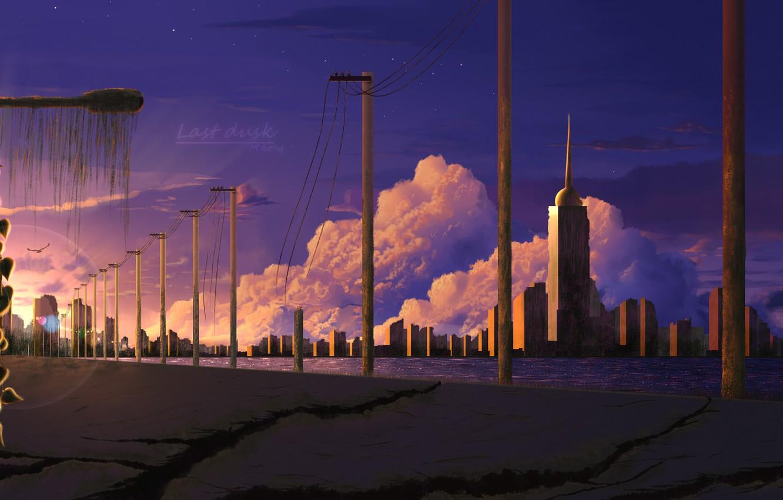 Фото обои трещины, рассвет, столбы, башня, небоскребы, art, дарога, безлюдный город, пост апокалипсис, заброшенная зона, небо в …