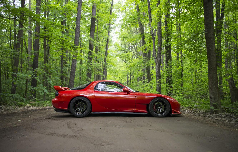 Фото обои дорога, лес, красный, спорткар, Mazda RX-7