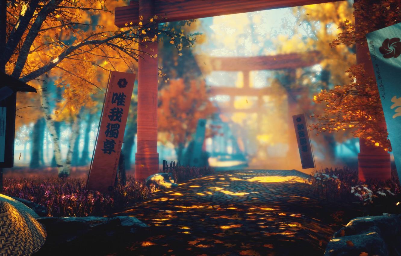 Фото обои осень, природа, меч, арт, тории