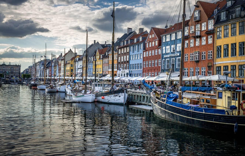Фото обои дома, Дания, набережная, Копенгаген