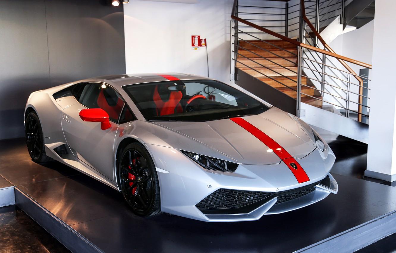 Фото обои Lamborghini, Pavilion, Silver, Huracan