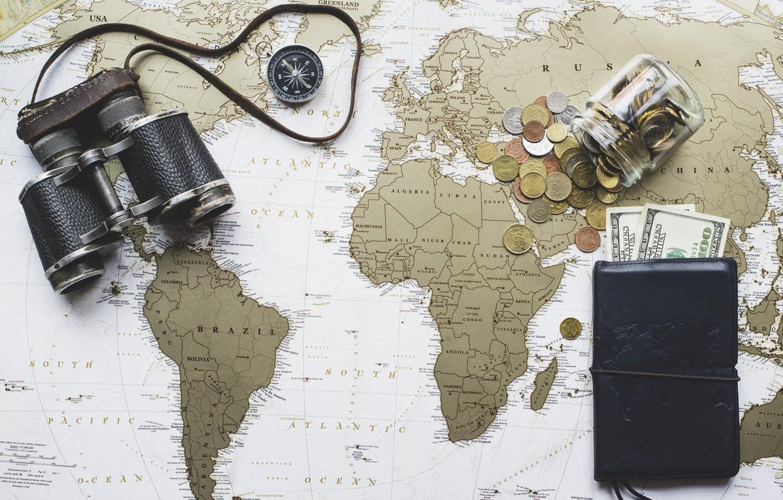 Фото обои карта, деньги, бинокль, доллары, карта мира, мелочь, кошелёк