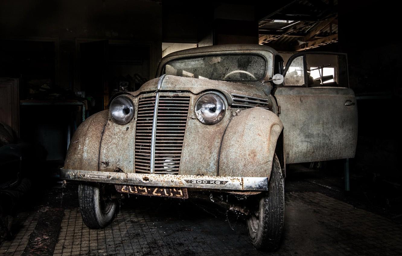 Фото обои машина, фон, гараж