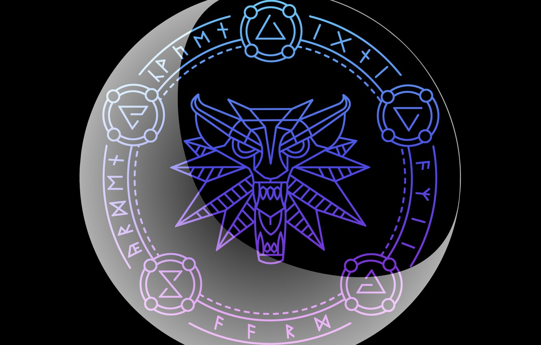 Фото обои волк, круг, знаки, the witcher, ведьмак, руны, полумесяц, Игни, Аард, Квен, Ирден, Аксий