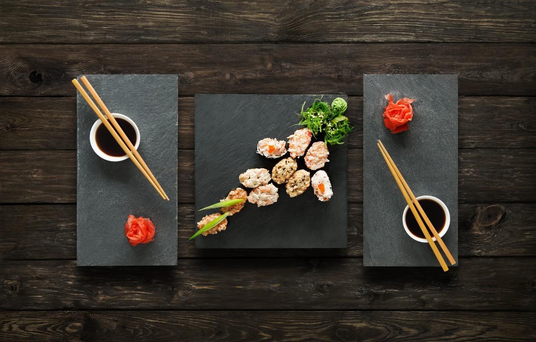 Фото обои палочки, соус, sushi, суши, роллы, имбирь, set, вассаби, japanese food
