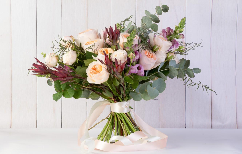 Фото обои зелень, розы, букет, львиный зев