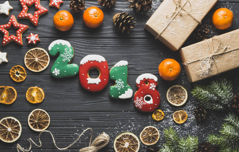 Фото обои праздник, звезда, ель, подарки, цитрус, цыфры, новый год 2018