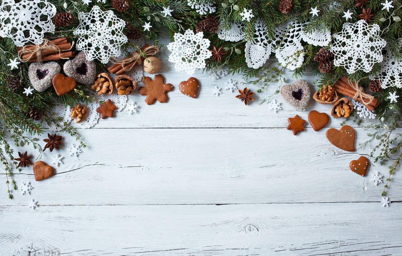 Фото обои украшения, снежинки, елка, Новый Год, печенье, Рождество, сердечки, Christmas, wood, Merry Christmas, Xmas, cookies, decoration