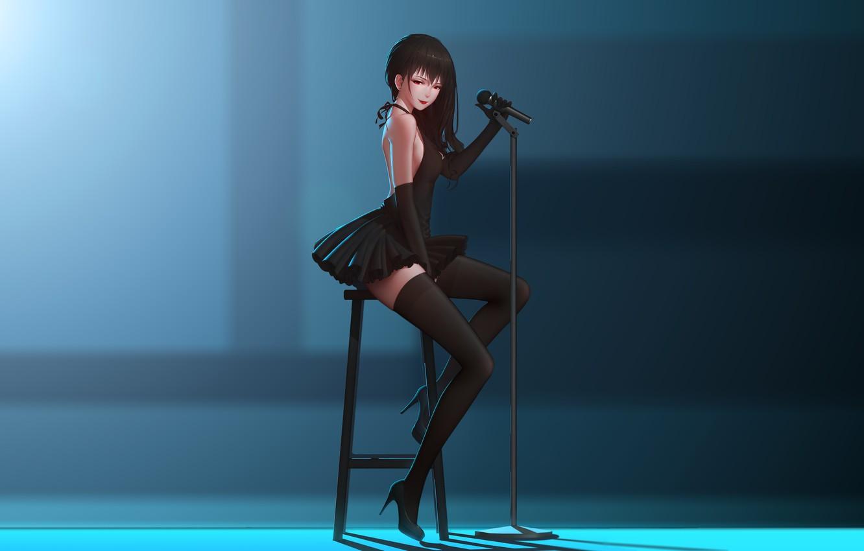 Фото обои девушка, поза, чулки, аниме, арт, стул, микрофон, maredoro