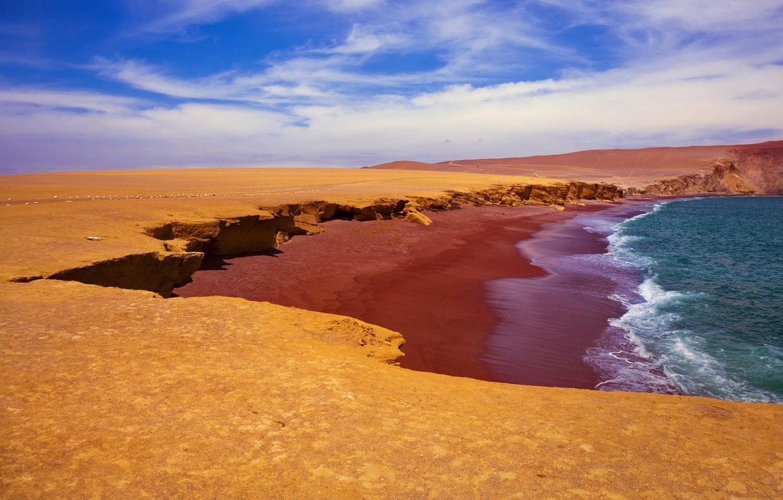 Фото обои море, небо, берег, Перу, Красный Пляж, Paracas National Reserve