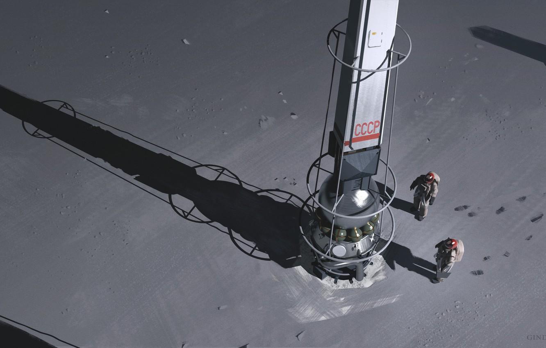 Фото обои космонавты, аппарат, Space Pylons