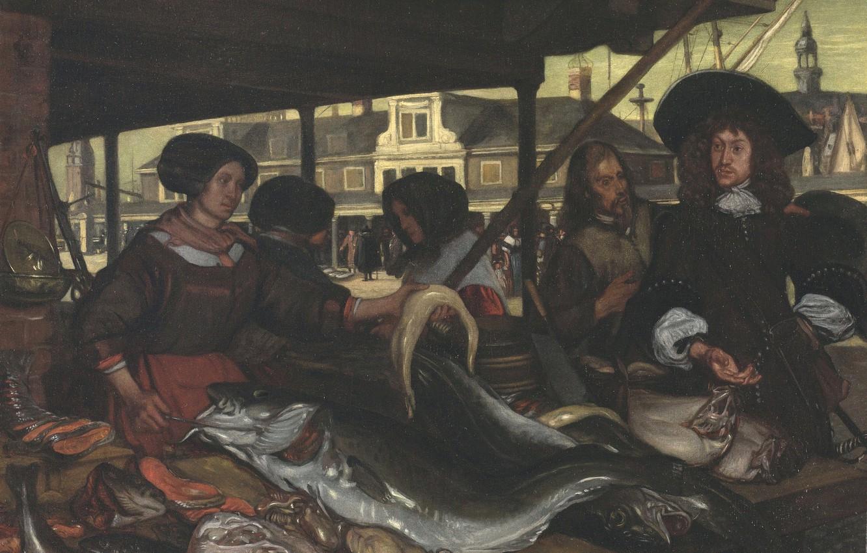 Фото обои рыба, рынок, кишки, Emanuel de Witte, in Amsterdam, 1655, The New Fishmarket