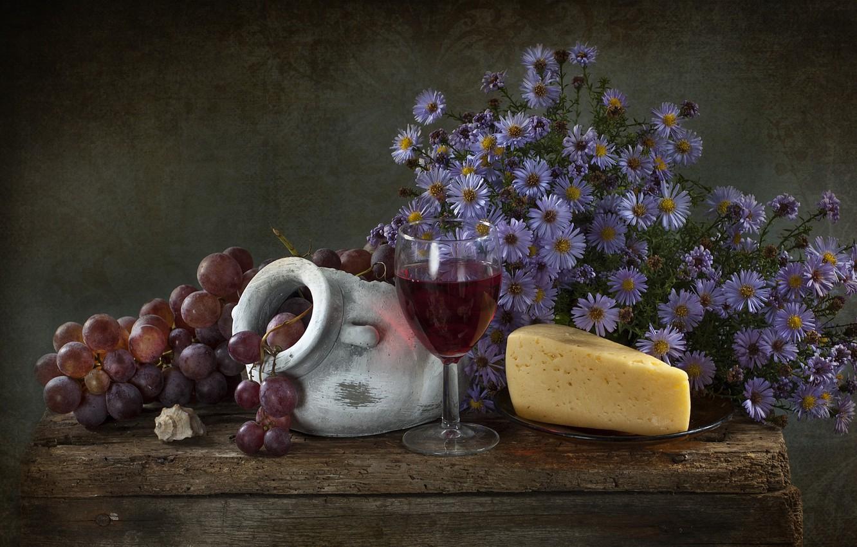 Фото обои цветы, сыр, виноград, натюрморт