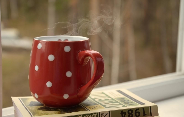 Обои напиток, книга, чтение, чай, окно. Разное foto 19