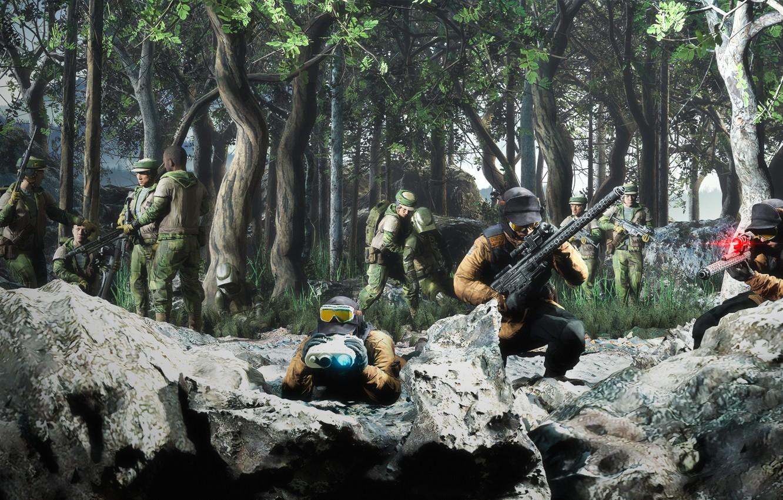 Фото обои лес, камни, засада, воины, Setting up