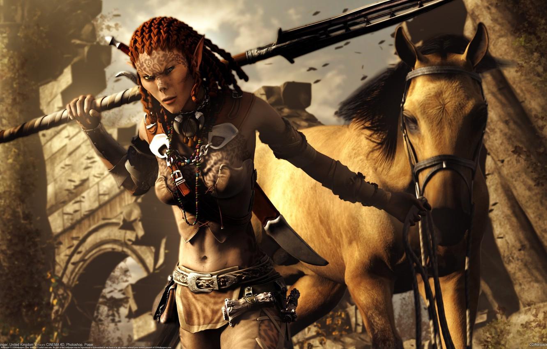 Фото обои девушка, конь, лошадь, эльф, копьё, Ian Grainger