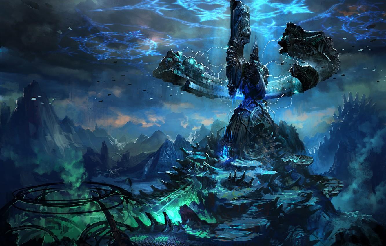 Фото обои энергия, горы, темнота, мир, Фантастика, ироглифы, Val Kaeli, TERA online