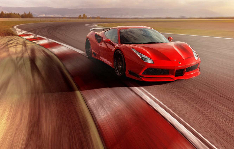 Фото обои Ferrari, суперкар, феррари, GTB, Novitec Rosso, 488
