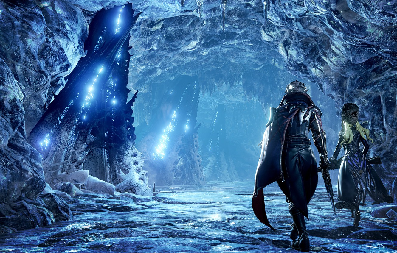 Фото обои Пейзаж, Vampire, Protagonist, Скриншот, Ледяная пещера, Tyan, Главный герой, CodeVein, Ледяной пейзаж
