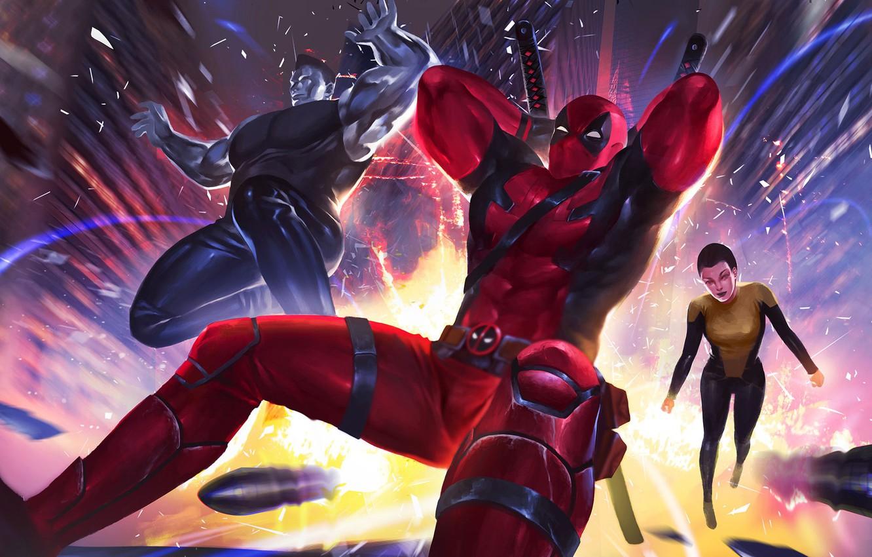 Фото обои фантастика, арт, Deadpool, комикс, супергерои, Colossus, MARVEL, Teenage Warhead