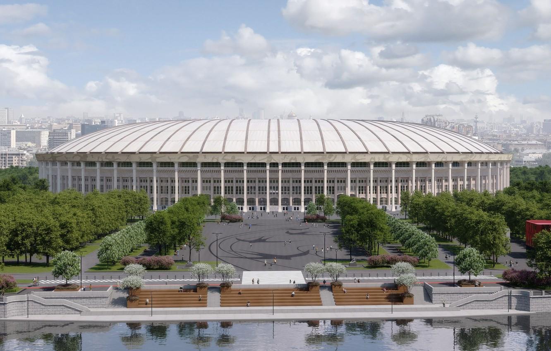 Фото обои Спорт, Футбол, Москва, Россия, Стадион, Рендеринг, Лужники, Главный Стадион, Стадион «Лужники»