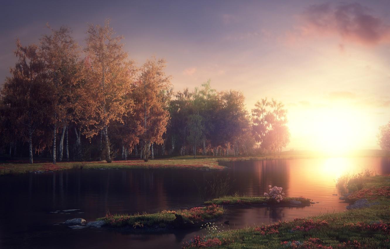 Фото обои рендеринг, Jonny Allen, Mystic Lake, Мистическое озеро
