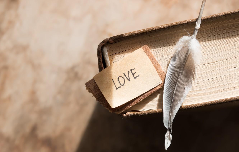 Фото обои перо, книга, love, vintage, i love you, heart, romantic, book