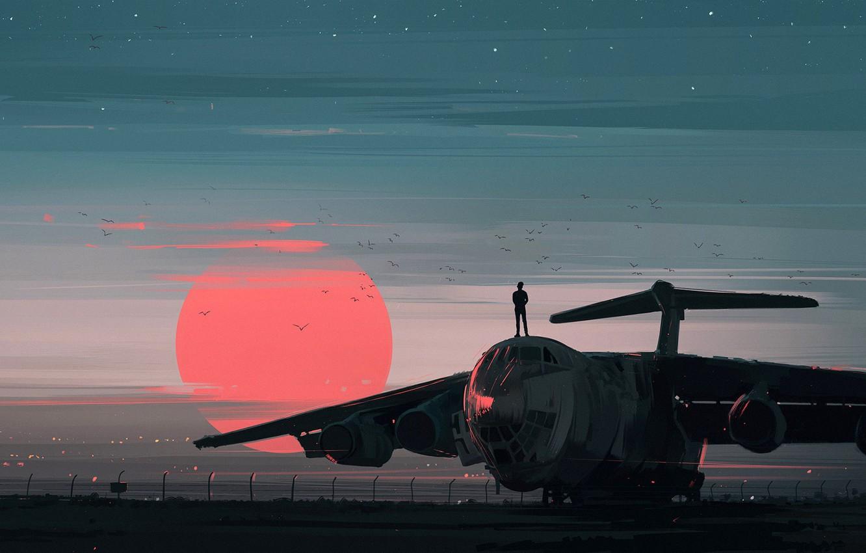 Фото обои red, twilight, sky, landscape, sunset, birds, sun, people, airplane, painting, aviation, artist, digital art, artwork, …