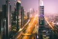 Картинка огни, улица, вечер, Дубай, ОАЭ