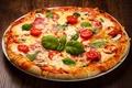 Картинка пицца, тарелка, зелень, помидоры