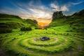 Картинка Stones, Grass, скалы, небо, рассвет, круги, Sky, Sunrises
