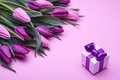 Картинка fresh, розовые, love, бант, romantic, pink, тюльпаны, tulips, gift, purple, букет, flowers