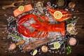 Картинка красный, лимон, рыба, омар, вид сверху, креветки, морепродукты, специи