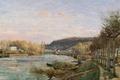 Картинка пейзаж, река, Сена в Буживале, картина, Камиль Писсарро
